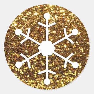 Snowflake Gold Christmas Sticker