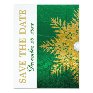 "Snowflake gold emerald green wedding Save the Date 4.25"" X 5.5"" Invitation Card"