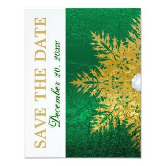 "Snowflake gold emerald green wedding Save the Date 4.25"" X 5.5"" Invitation Card"