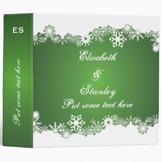 Snowflake green white winter wedding binder