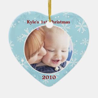 Snowflake Heart Ornament Photo Template
