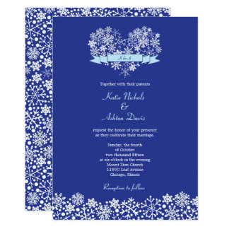 Snowflake Heart Winter Wedding Invitation