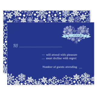 Snowflake Heart Winter Wedding RSVP Card