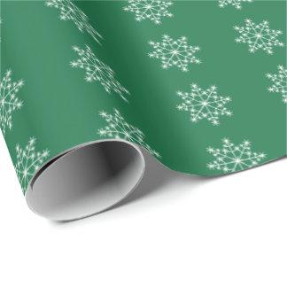 Snowflake Holiday Design Dark Green Xmas Christmas Wrapping Paper