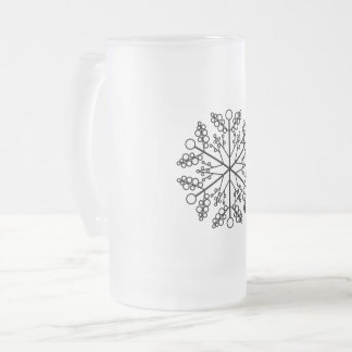 Snowflake Holiday Ornament Frosted Glass Beer Mug