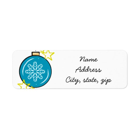 Snowflake holiday ornament return address labels
