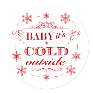 "Snowflake Holiday Party Baby It's Cold Outside 5.25"" Square Invitation Card"