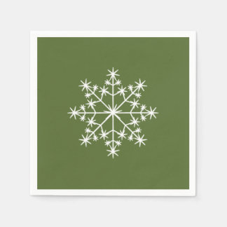 Snowflake Holiday Xmas Dark Olive Green Christmas Disposable Napkin
