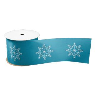 Snowflake Holidays Design Teal Satin Ribbon