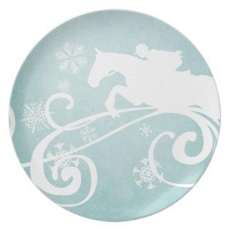 Snowflake Horse Holiday Christmas Dinner Plates