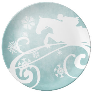 Snowflake Horse Holiday Christmas Porcelain Plate