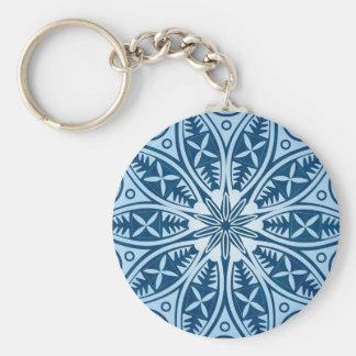 Snowflake kaleidoscope pattern basic round button keychain