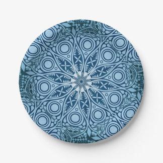Snowflake kaleidoscope pattern paper plate