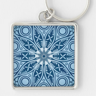 Snowflake kaleidoscope pattern Silver-Colored square keychain