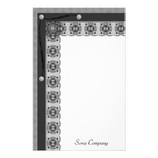 Snowflake Lace And Brads Set (Black And White) Customized Stationery