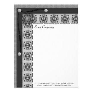 Snowflake Lace And Brads Set (Black And White) Customized Letterhead