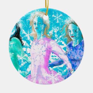 Snowflake ladies round ceramic ornament
