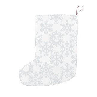 Snowflake Monogram Winter White Christmas Stocking Small Christmas Stocking