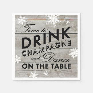 Snowflake Napkin Time to Drink Champagne Disposable Napkin
