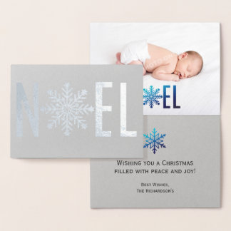 Snowflake Noel Foil and Photo Christmas Foil Card