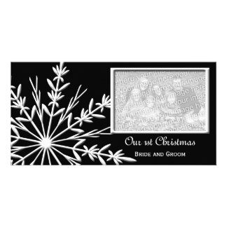 Snowflake on Black First Christmas Photo Card