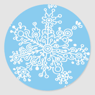 Snowflake (on Blue) Classic Round Sticker