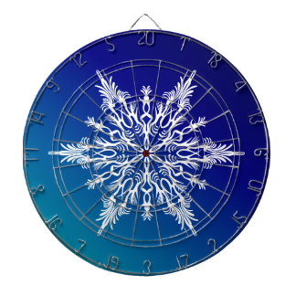 SNOWFLAKE  on Blue Dartboard With Darts
