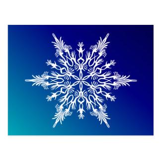 SNOWFLAKE  on Blue Postcard