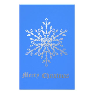 Snowflake on Blue Stationery Paper