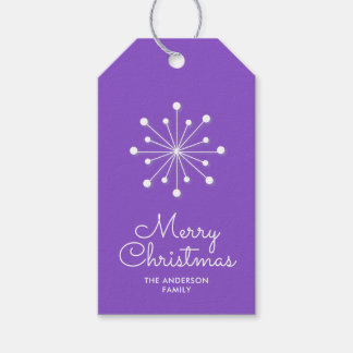 Snowflake on Bright Purple Merry Christmas Gift Tags