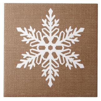 Snowflake on Burlap Country Style Christmas Tile