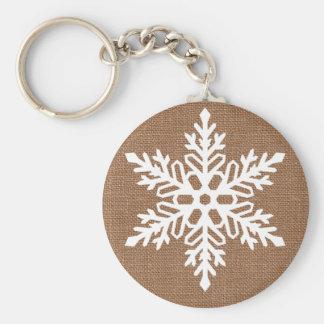 Snowflake on Burlap Rustic Christmas Keychain