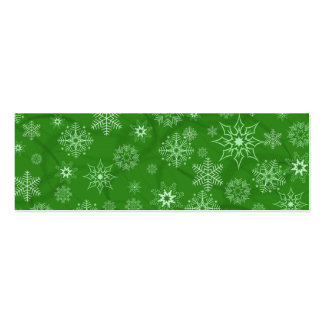 Snowflake on green business card templates