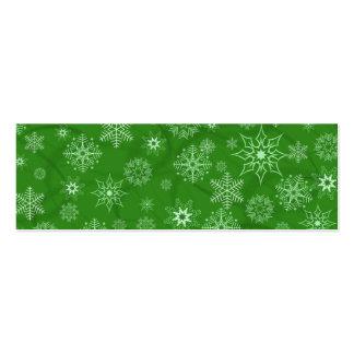 Snowflake on green mini business card