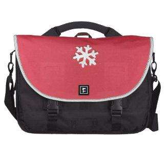Snowflake on Red Laptop Bag