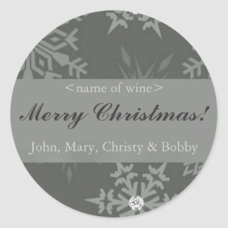 Snowflake on Silver Christmas Wine Labels