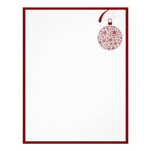 Snowflake Ornament Christmas Letterhead