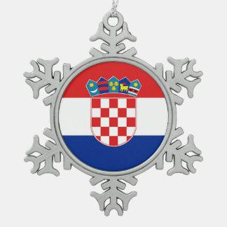 Snowflake Ornament with Croatia Flag
