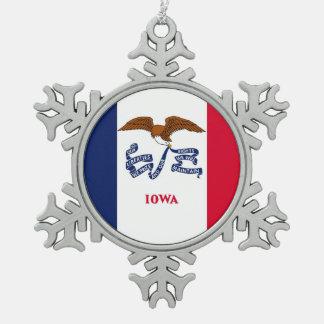 Snowflake Ornament with Iowa Flag
