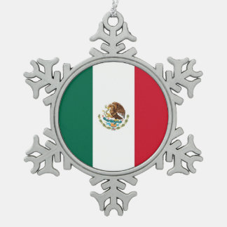 Snowflake Ornament with Mexico Flag