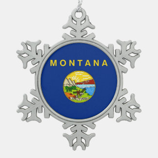 Snowflake Ornament with Montana Flag