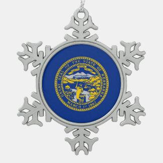 Snowflake Ornament with Nebraska Flag