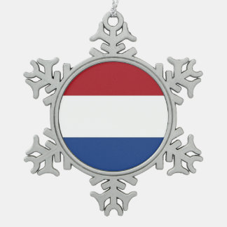 Snowflake Ornament with Netherlands Flag