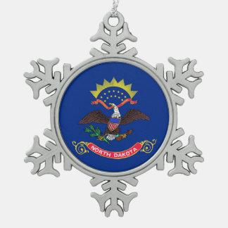 Snowflake Ornament with North Dakota Flag