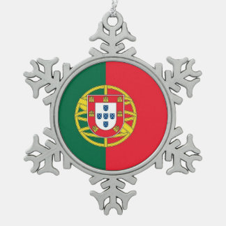 Snowflake Ornament with Portugal Flag