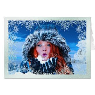 Snowflake Overlay Photo Christmas Card