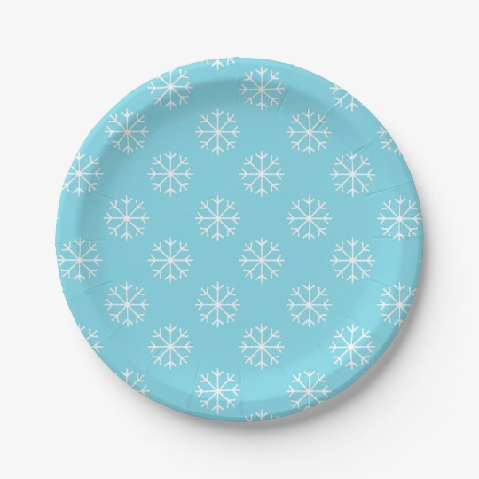 Snowflake paper plates | Christmas party supplies 7 Inch Paper Plate