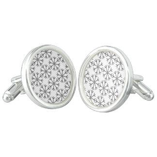 Snowflake  pattern - black and white. cufflinks