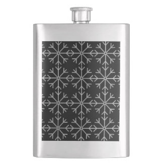 Snowflake  pattern - black and white. hip flask