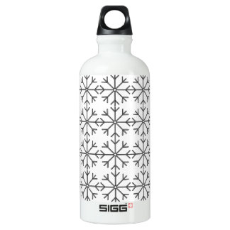 Snowflake  pattern - black and white. water bottle